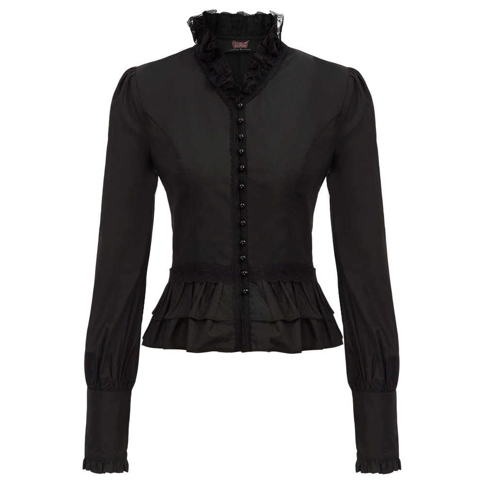 fashion retro blouse autumn Women solid color Victorian Steampunk Gothic Long Sleeve Stand Collar ruffle Corset Lacing  Tops