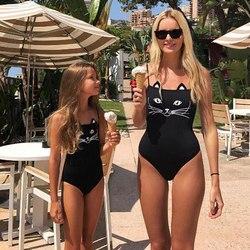 Купальник для мамы и дочки, женский, детский, для девочек, с милым котом, Цельный купальник, купальный костюм, бикини, пляжная одежда 4