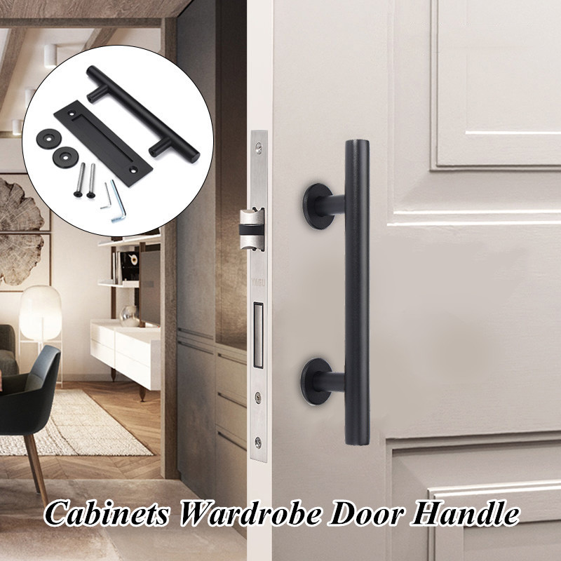 Black Stainless Steel Sliding Barn Door Pull Handle Wood Door Handle
