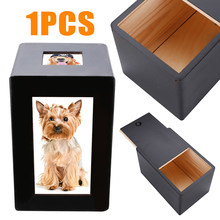 Mayitr Black Wooden Pet Dog Cat Box Cremation Urn Peaceful Memorial Photo Frame Keep Box For Home Pet Storage Holder(China)