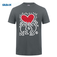 GILDAN Free Shipping T Shirt Gift Men Keith Haring Love O-Neck Short-Sleeve Shirts