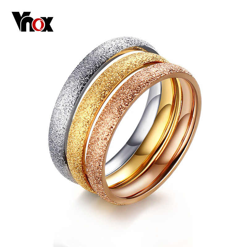 Vnox Three Color Rings for Women Stainless Steel Wedding Bands Rings with Dull