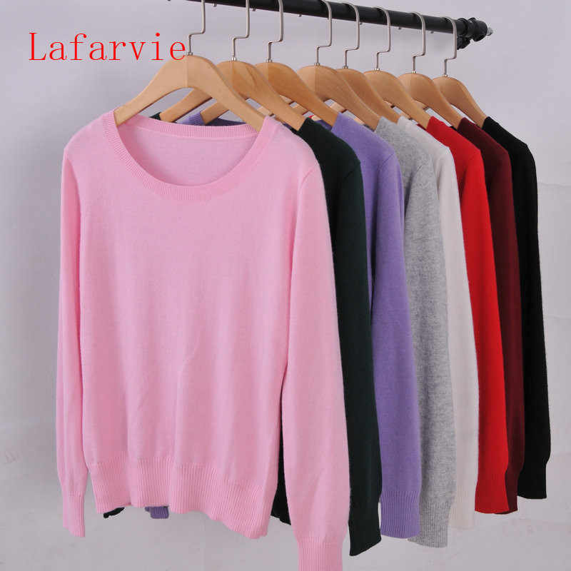 Lafarvie Sweater Women Pullovers 2019 Winter Long Sleeve Wool Female Pullovers Kintted Brand Name Women Cashmere Pullovers