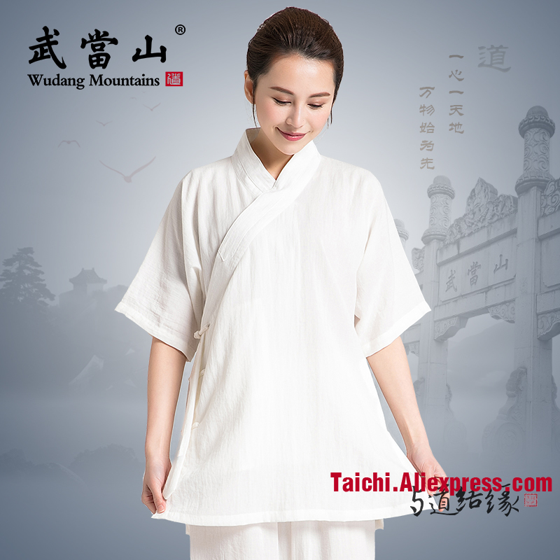 Short Sleeve Chinese Traditional Tai Chi Uniforms Kung Fu Clothing Martial Art wear Unisex Shirt and