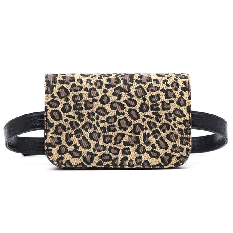 Retro Women Small Waist Packs Casual Smart Leopard Design Chest Bags Wide Strap Single Shoulder Bag Ladies Fanny Pack Bum Pouch
