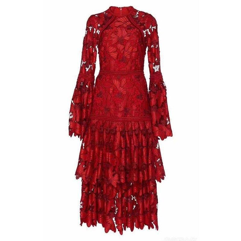 De Printemps Manches menkay 2019 Longues Red Mode Robes Taille Flare Femelle Soirée Femmes Évider Robe Partie Élégante Dentelle Haute fEYngwTrqY