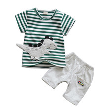 купить Summer Baby Boys Clothing Sets Children Cartoon Dinosaur Striped T Shirt 2 Pcs/Sets Clothes Suits Kids Fashion Cotton Tracksutis дешево