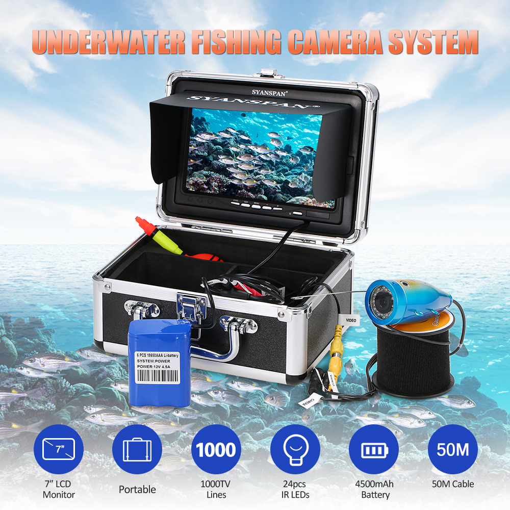7 Inch Fish Finder 1000TVL Waterproof Underwater Ice Fishing Camera Kit 24pcs LEDs for Ice Lake Boat Fishing Deeper Monitor