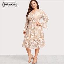 Pickyourlook Lace Women Dress Plus Size Khaki Floral Female Midi Large Dresses For Ladies Autumn Winter Vestidos D40