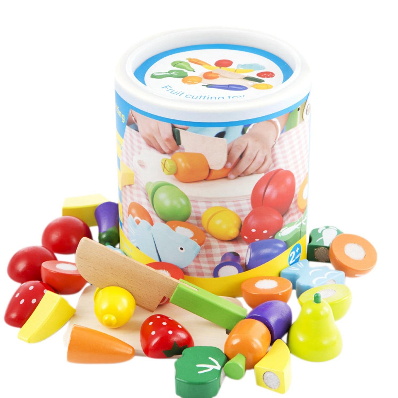 Frutas y verduras juegan a la cocina para aparcar cortar alimentos juguetes-juego educativo con cuchillo de juguete, tabla de cortar Juguetes de madera para niños, juego de simulación de Doctor, Kit de inyección de enfermera, juego de roles, juguetes clásicos, simulación de Doctor, juguetes para niños