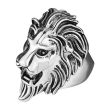 New Vintage Big Stainless Steel Couple Rings for Women Men Silver Trend Paint Lion Woman Rings High Quality Punk Rock Jewelry все цены