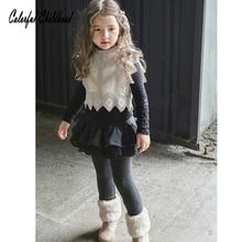 Штаны для девочек, однотонные плотные бархатные штаны в стиле пэчворк для маленьких девочек-подростков, кружевные штаны с оборками, юбка, детские зимние теплые леггинсы