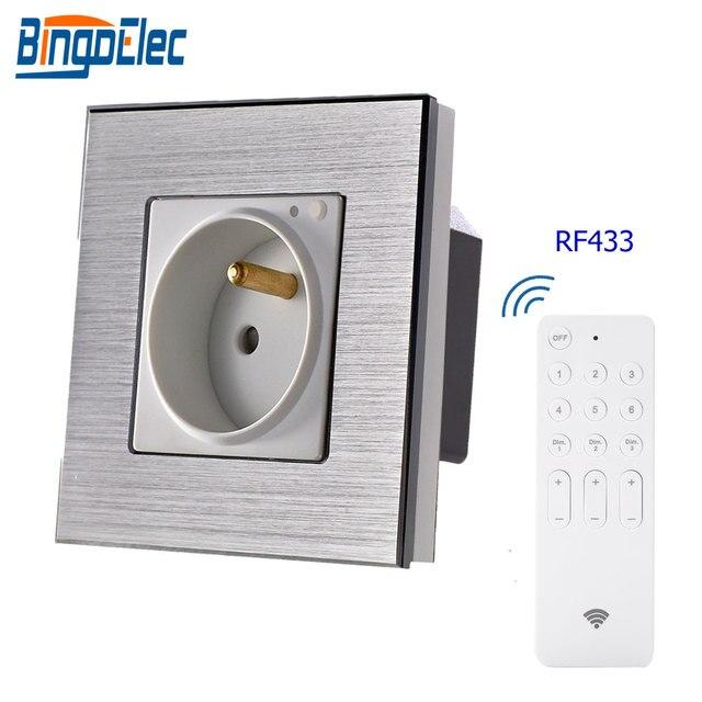 Toma de Control remoto de enchufe francés bingoielece RF 433 toma de pared UE marco de aluminio estándar con enchufe inteligente para el hogar