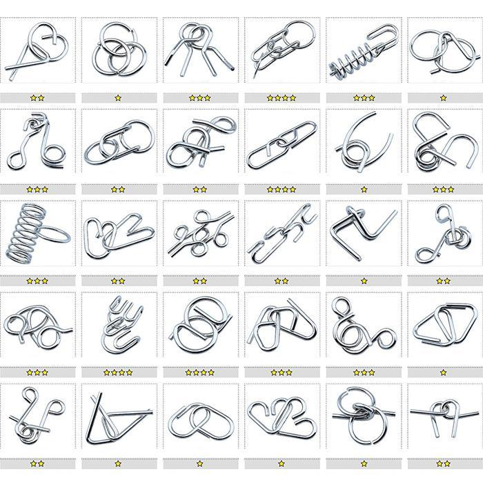 24PCS Set Materials Metal Montessori Puzzle Classic IQ Metal Wire Puzzle Baffling Brain Teaser Magic Rings
