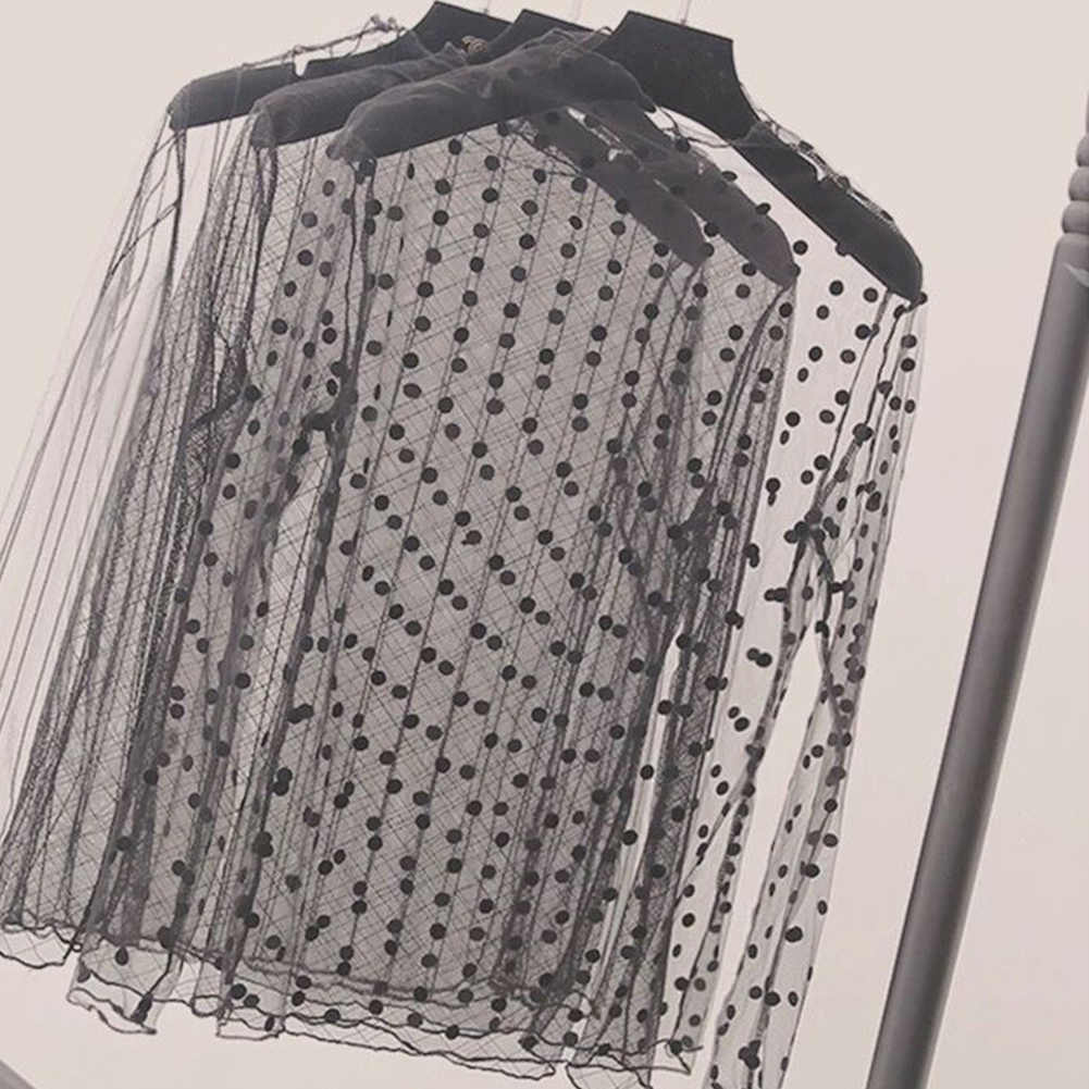Женские сексуальные сетчатые прозрачные кружевные Футболки с длинным рукавом и стоячим воротником, сетчатые Топы в полоску, в горошек, со звездами, футболки для вечеринок