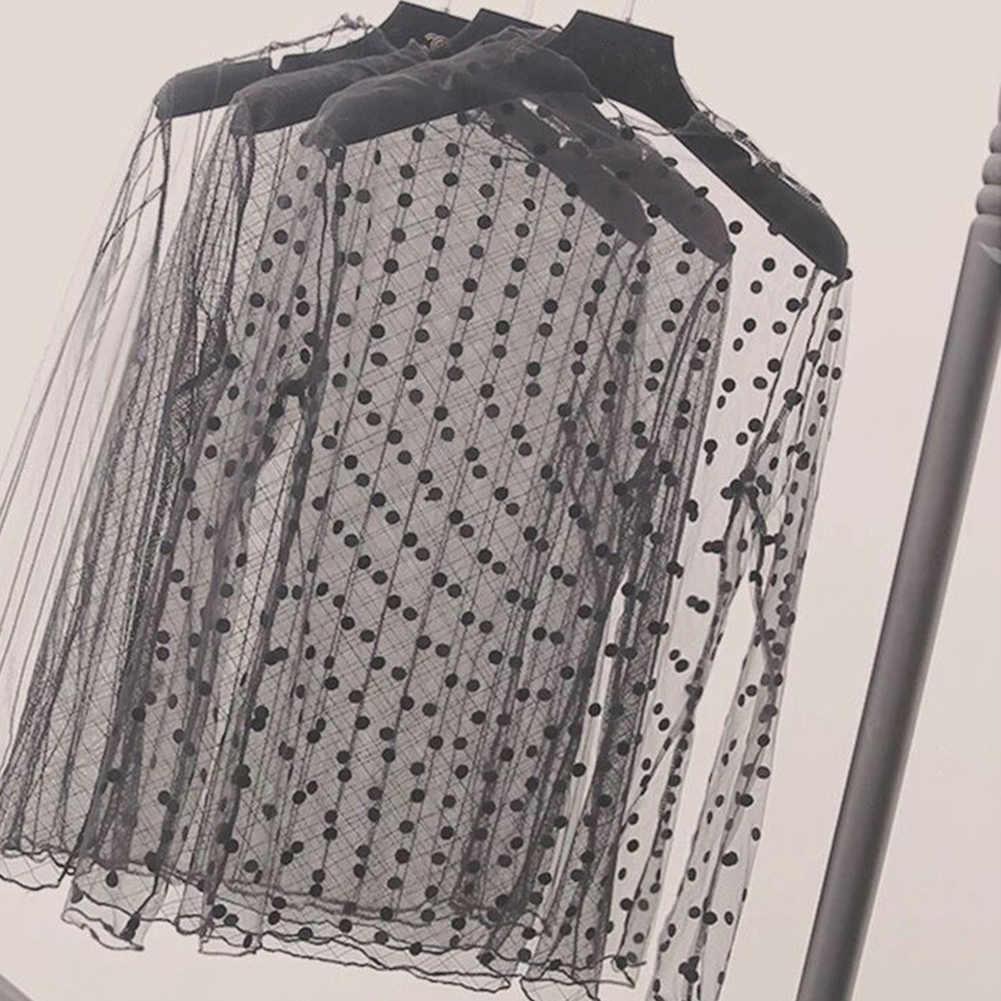 Phụ Nữ Sexy Lưới Ren Sheer Áo Thun Quan Điểm Tay Dài Cổ Đứng Lưới Áo Sọc Sao Chấm Bi Đảng Tee áo Sơ Mi