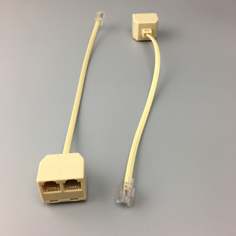 RJ11 6P4C 2 Way Outlet Telephone Jack Line Splitter Adapter Beige Buy 10 Pcs Save Big