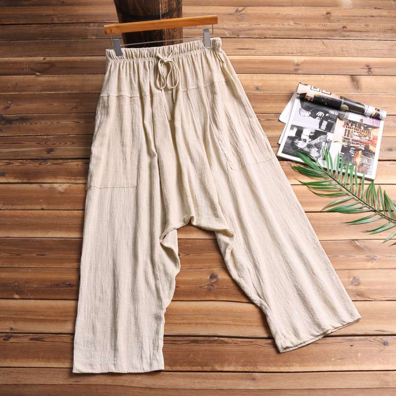 Vintage Loose Men Pants Baggy Wide Legs Women Big Crotch Trousers Elastic Waist Harem Pants Ankle Hiphop Harajuku Cross-pants(China)