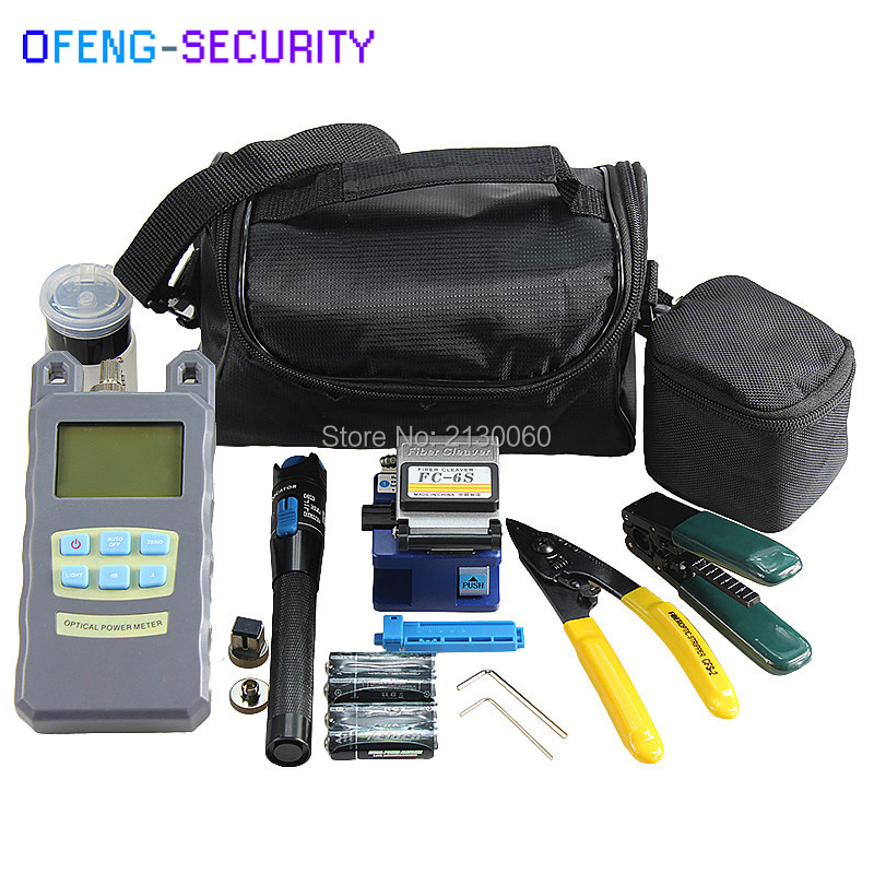 Fiber Optic FTTH Tool Kits With Optical Power Meter, 1mw Visual Fault Locator, Fiber Cleaver FC-6S, Drop Cable Stripper ETC