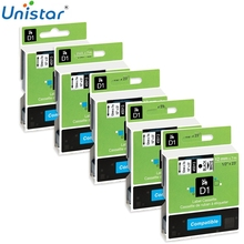 Unistar Printer Ribbon Replacement for Dymo D1 45013 S0720530 12mm Compatible Dymo Label Manager Printer Black on White fimax 10 pcs for dymo d1 label printer ribbon dymo 45013 12mm dymo d1 label tape black on white s0720530 for dymo d1 label maker