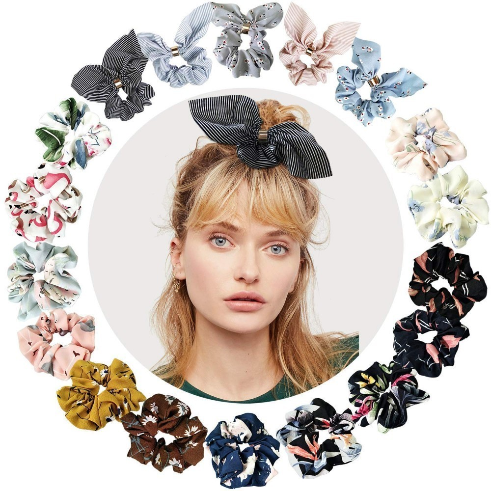 1pc Chiffon Flowers Rabbit Ears Hair Scrunchie Bowknots Ties Ropes Ponytail Holder Elastic Woman Accesories