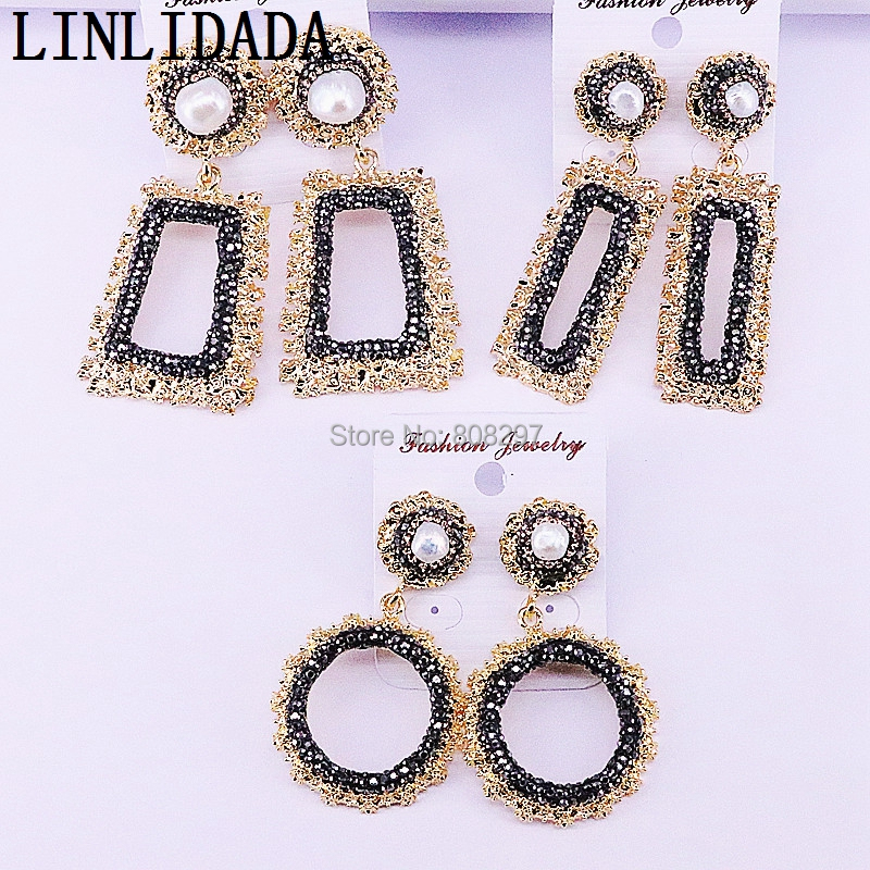 4Pairs Mix Style gold metal charms paved rhinestone crystal pearl dangle earrings for women