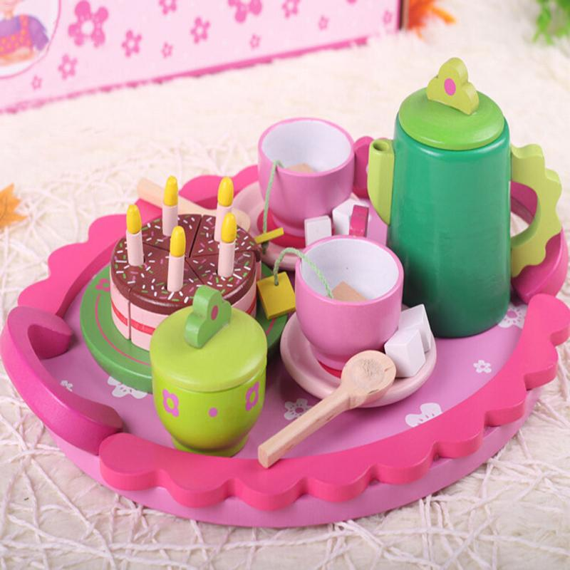 2019 New Wooden Green Pretend Snack Afternoon Tea Set Toy Children's Play House Toy Wooden Tea Pretend Toy Cake Toy