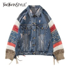 TWOTWINSTYLE Patchwork Knitting Sleeve Denim Jackets For Women Ripped Hole Tasse