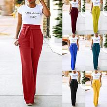 Spring Summer Fashion Women Solid Color Loose Wide-leg Lady Pants High Waist Crop Casual Bandage Wide Leg Trousers