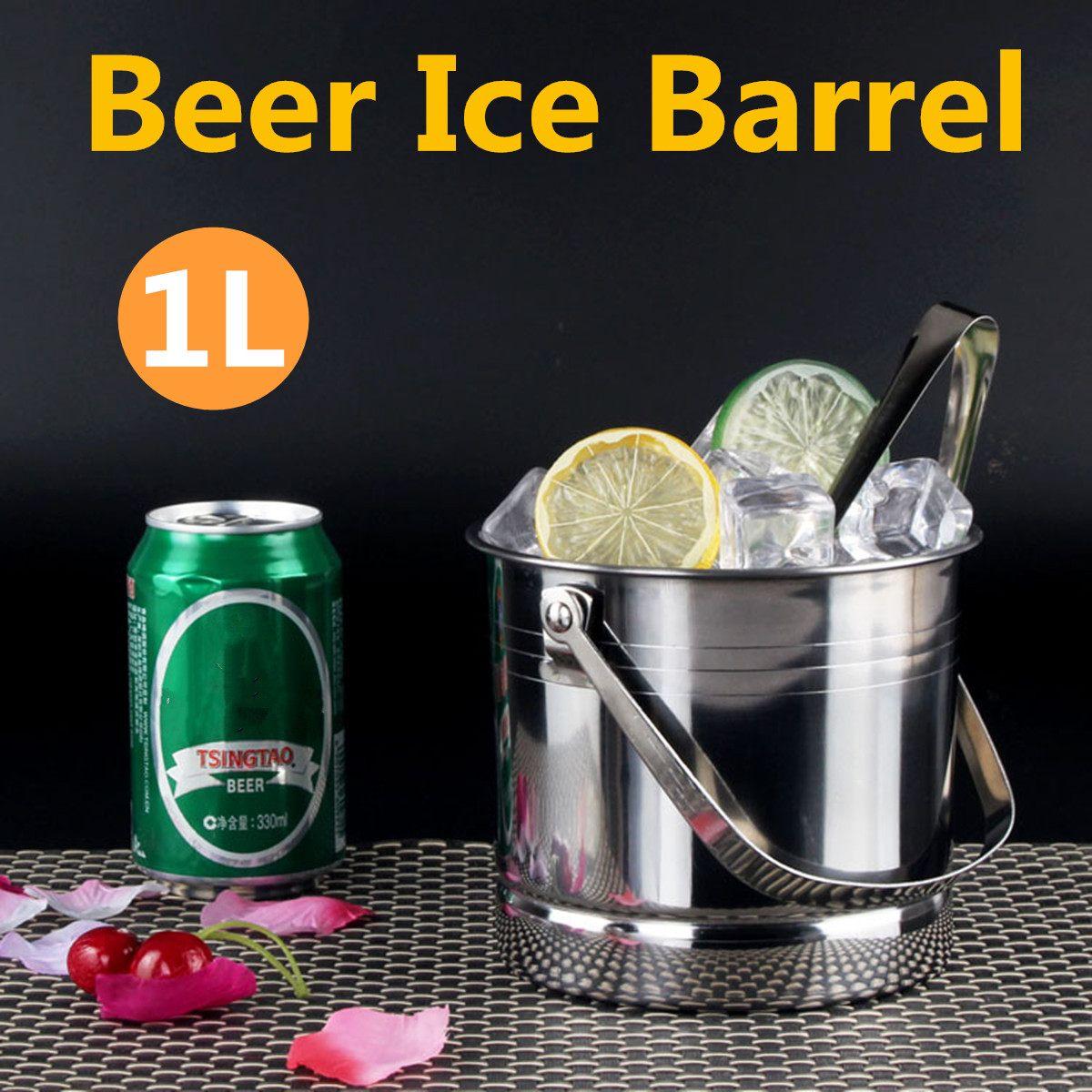1l Draagbare Bier Ijsemmer Champagne Koeler Roestvrij Staal Met Handvat + Ijs Clip Praktische Bar Container Vat Bier Wijn