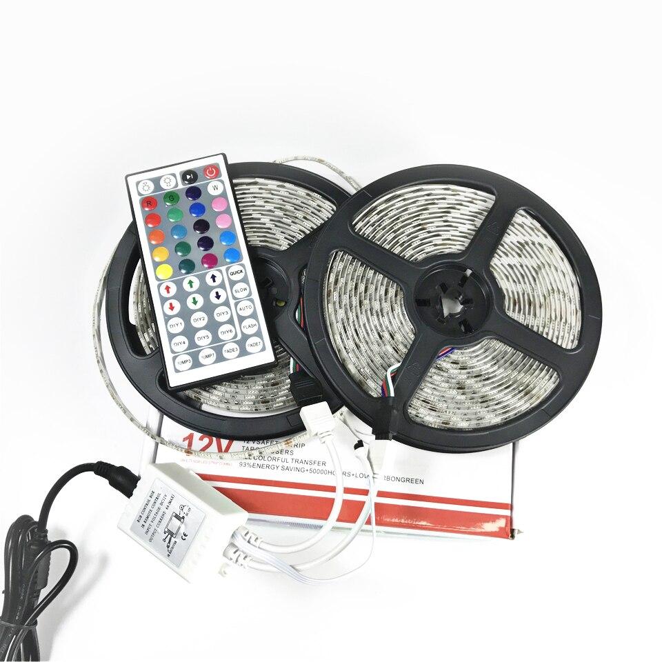 Jeu de bandes de LED 10 mètres IP20/IP65 étanche SMD5050 60 LED/M RGB DC12V 10A avec contrôleur à distance IR 24/44key et alimentation