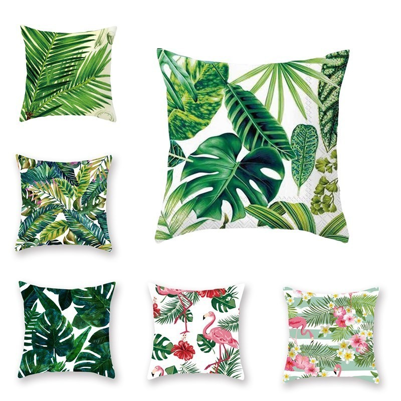 Throw Pillow Case Flower Leaf Print Cushion Cover Home Decor 45*45CM Polyester