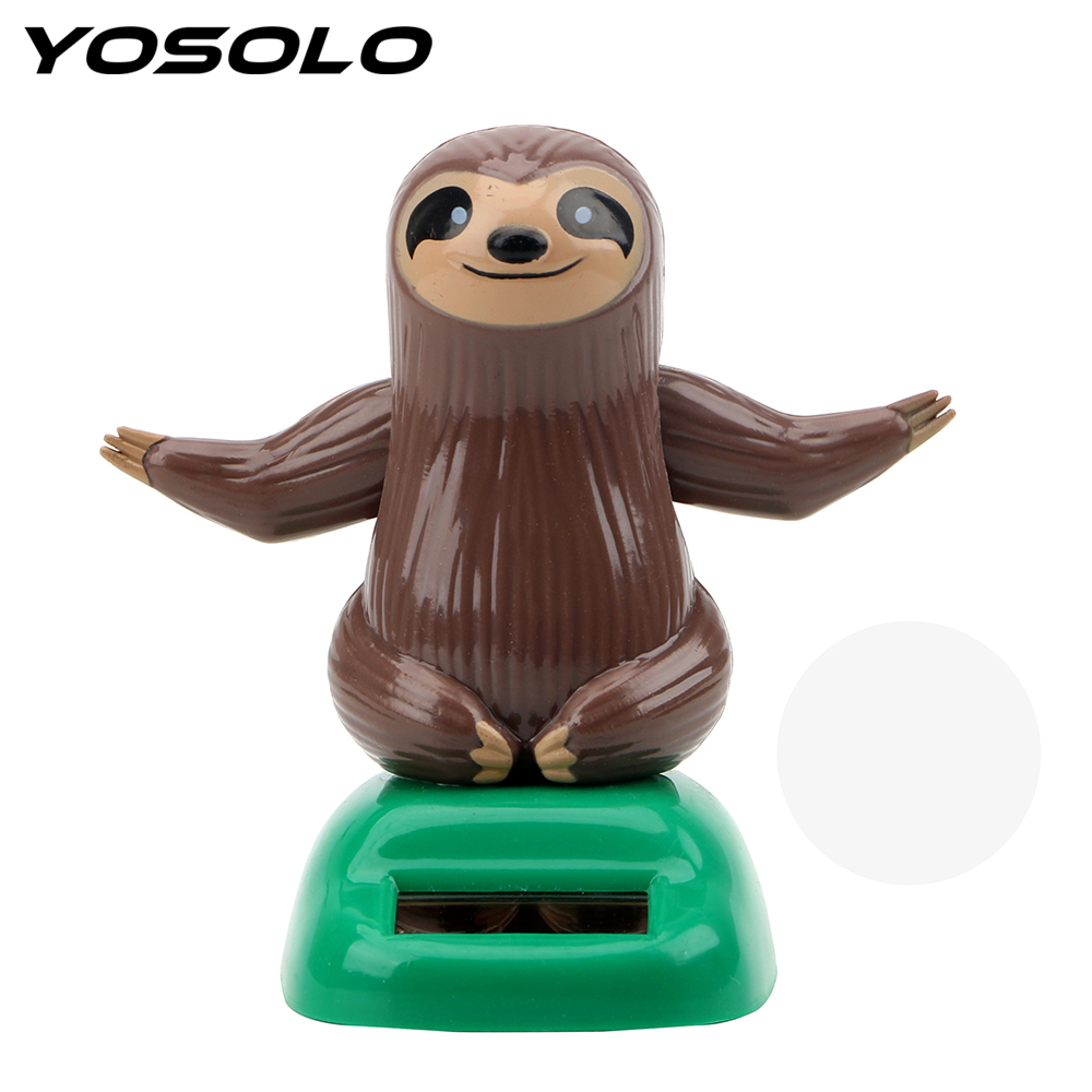 YOSOLO Swinging Cute Sloth Shape Car Ornament Dashboard Decoration Auto Accessories Solar Powered Dancing Toy Car Styling