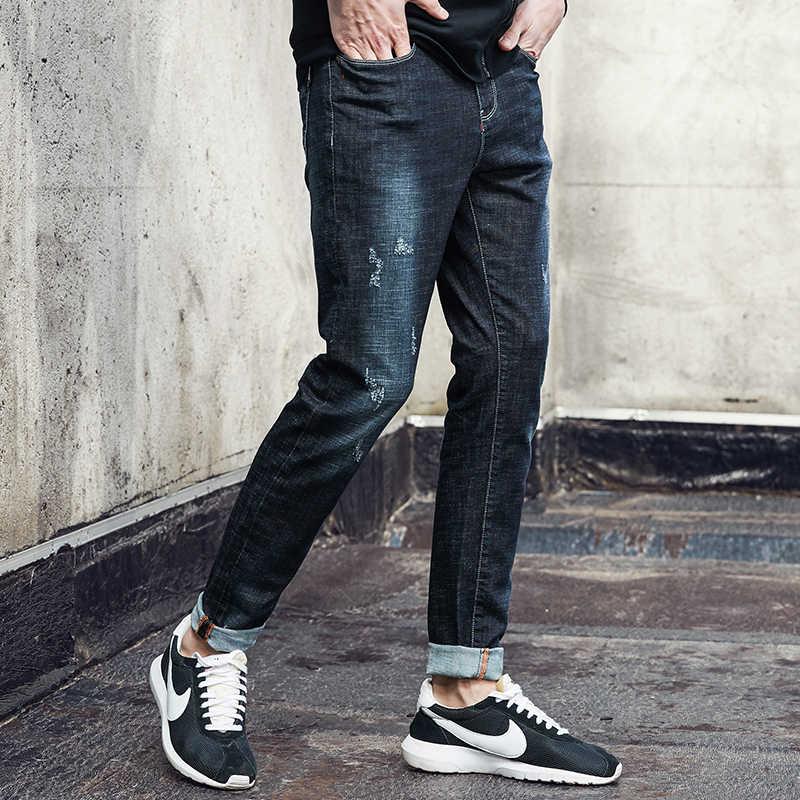Campamento de pioneros de los hombres delgados jeans de marca famosa, denim Hombre Pantalones slim fit pantalones de mezclilla para hombres
