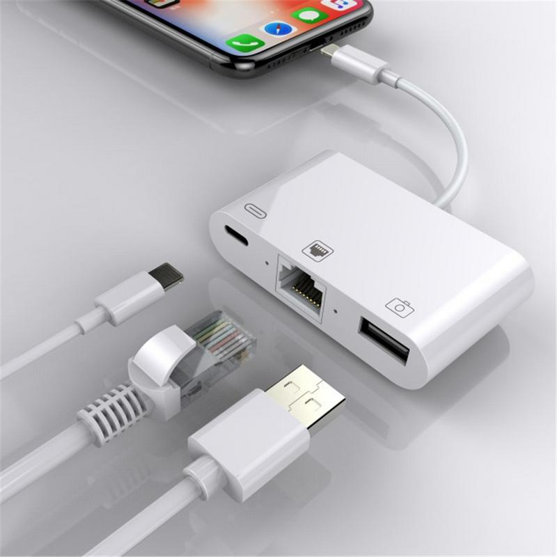 3 in 1 Lightning Charger Adapter Lightning to Ethernet RJ45 Adapter OTG USB 3.0 Camera Reader Charger Cable