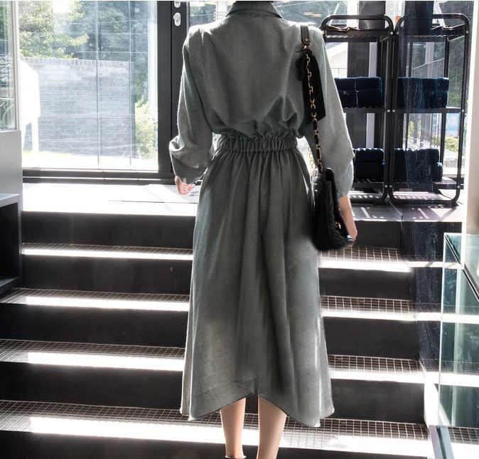 [Gutu] Осень и зима Корея 2017, Новая мода зубчатый три четверти рукав АСИММЕТРИЧНЫМ ПОДОЛОМ до середины икры платье женщина FA14001