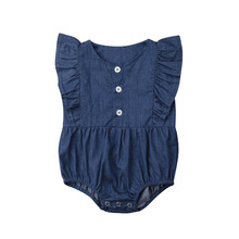 2019 Newborn Infant Baby Girls Denim Romper Jumpsuit Ruffle Clothes Outfit Toddler Blue One-piece Rompers цена и фото