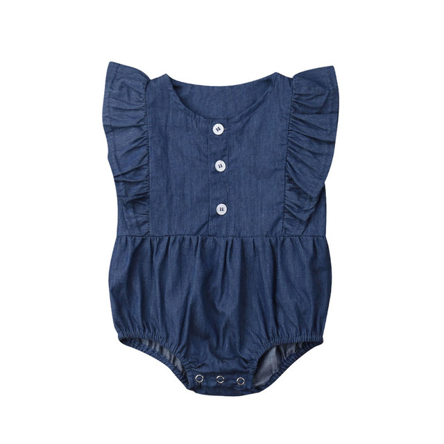 09488581576e 2019 Newborn Infant Baby Girls Denim Romper Jumpsuit Ruffle Clothes Outfit  Toddler Blue One-piece Rompers