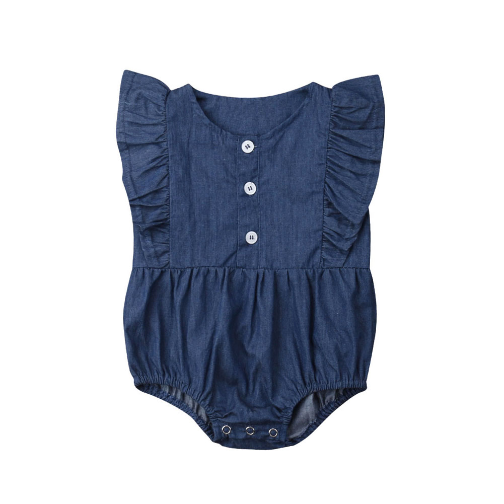 2019 Newborn Infant Baby Girls Denim   Romper   Jumpsuit Ruffle Clothes Outfit Toddler Blue One-piece   Rompers