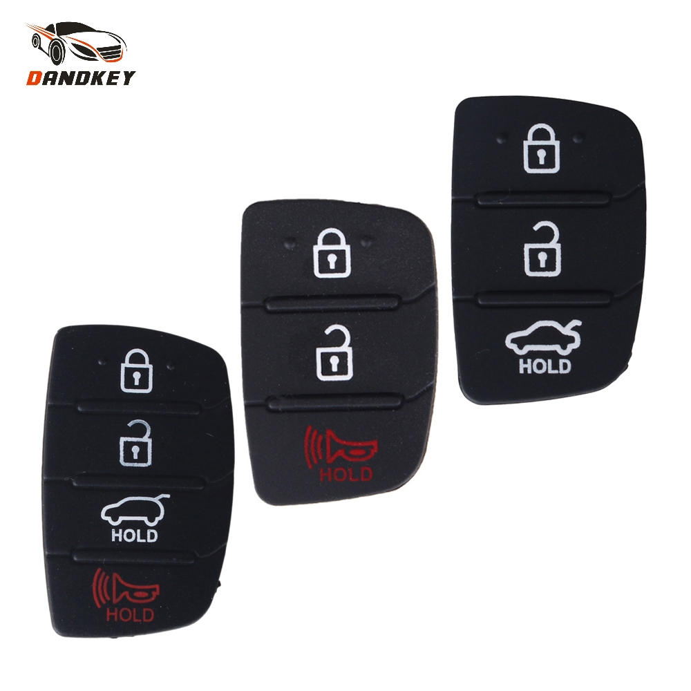 Dandkey 3 3+1 4 Buttons Rubber Pad Remote Key Case For Mistra Hyundai HB20 SANTA FE IX35 IX45 Kia K2 K5 Sportage Car Key Cover