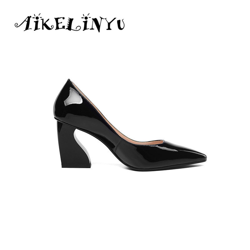 AIKELINYU 2019 Spring Fashion Genuine Leather Coarse High Heels Shoes Pumps Pointy Women Elegant Office Ladies Dress Shoes Gray in Women 39 s Pumps from Shoes