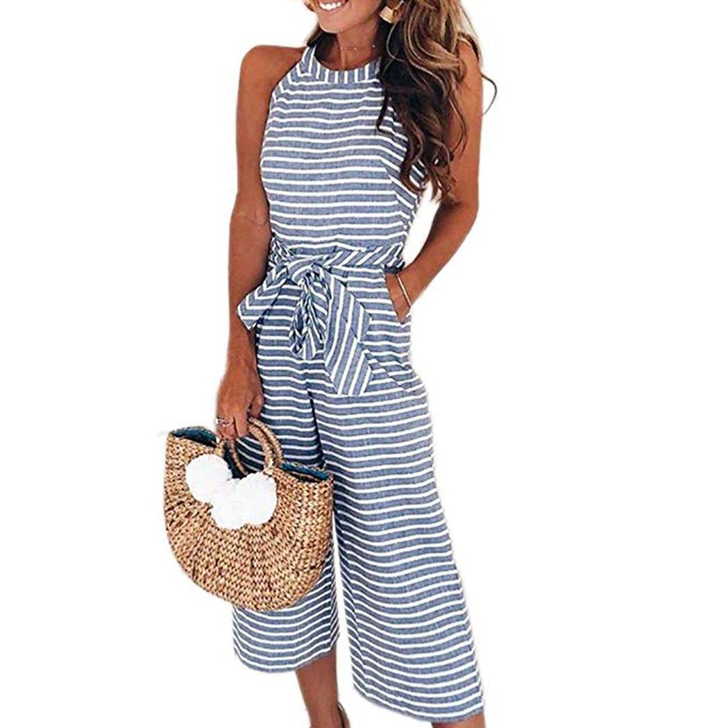 New Fashion Women Casual O-Neck Sleeveless Striped Pocket Wide Legs Lace Up Waist,   Jumpsuit   Mid-Calf Length