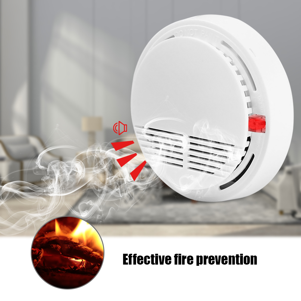 9V Battery Operated Photoelectric Smoke Alarm LED Light Flashing & Sound Warning Smoke Alert Detector For Home School Hotel(China)