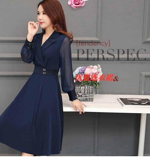 2019 New Women dress Full Sleeve Slim Collect Waist Pleated Dresses Navy 7005