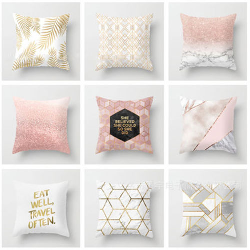 Gold Shining Printed Polyester Throw Pillow Case Sofa Cushion Cover Home Fashion Pillow cover
