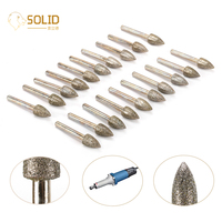 20Pcs 12mm Cone Shape Mounted Diamond Grinding Head with 1/4
