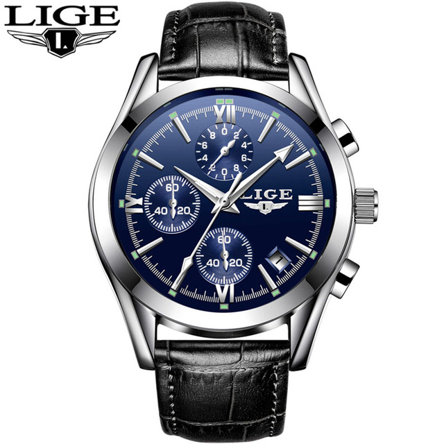 LIGE 9839 Quartz Watch Simple Men Time Calendar Display
