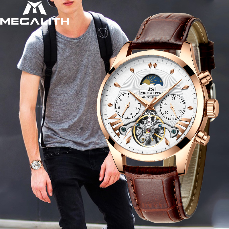 MEGALITH Mens Automatic Mechanical Watches Leather Casual Business Retro Watches Men Sport Waterproof Wristwatch Relojes HombreMEGALITH Mens Automatic Mechanical Watches Leather Casual Business Retro Watches Men Sport Waterproof Wristwatch Relojes Hombre
