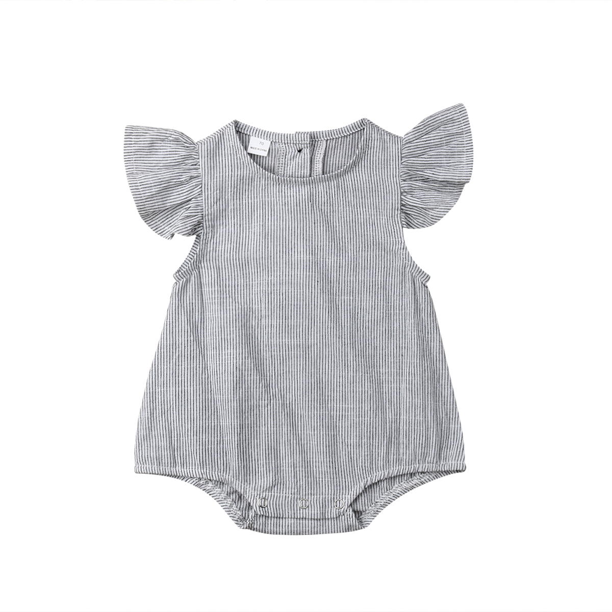 Summer Newborn Baby Girl Ruffles Sleeveless Grey Striped Cotton   Romper   Jumpsuit Outfits Baby Clothes