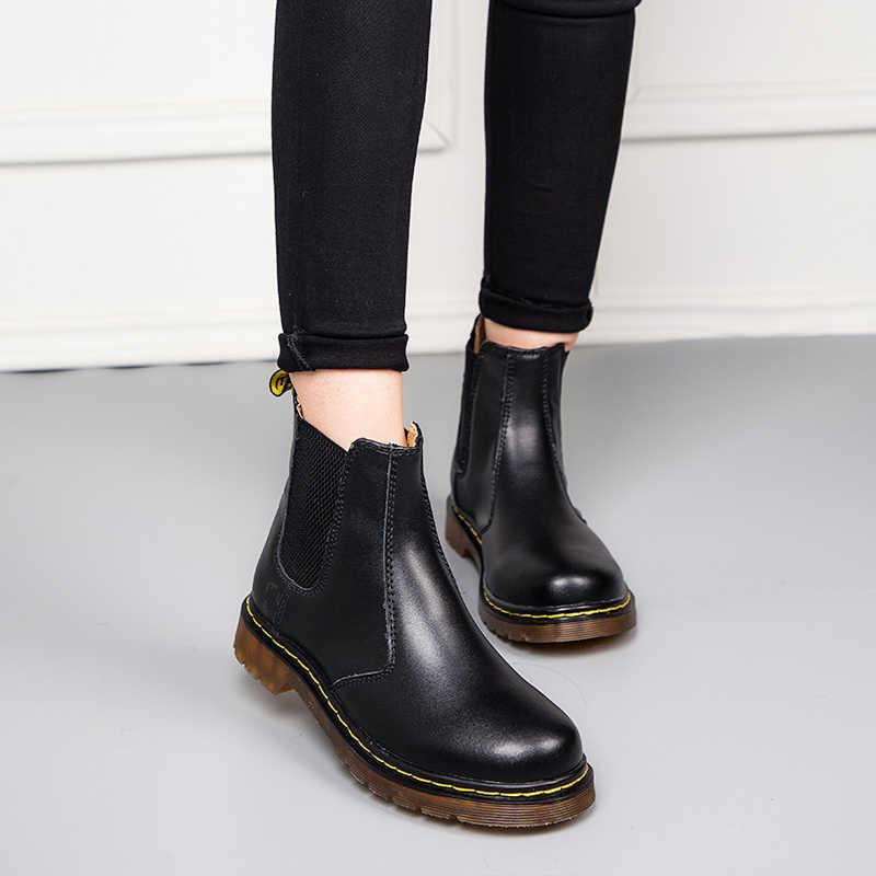PINSV Plus ขนาดเชลซีรองเท้าผู้หญิงคุณภาพ Slip บนข้อเท้ารองเท้าสำหรับสตรีรอบ Toe รองเท้าฤดูใบไม้ร่วงผู้หญิง